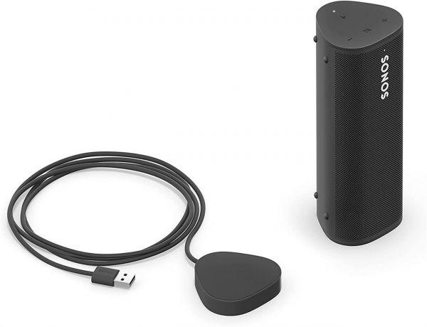 Sonos Roam + kabelloses Ladegerät, schwarz – Wasserdichter WLAN & Bluetooth Lautsprecher mit Alexa Sprachsteuerung, Google Assistant und AirPlay 2 – Outdoor Musikbox mit Akku für Musikstreaming