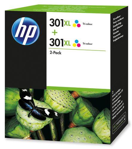HP 301XL 2-pack Tri-color Original Cyan, Magenta, Gelb Mehrfachverpackung 2 Stück(e)