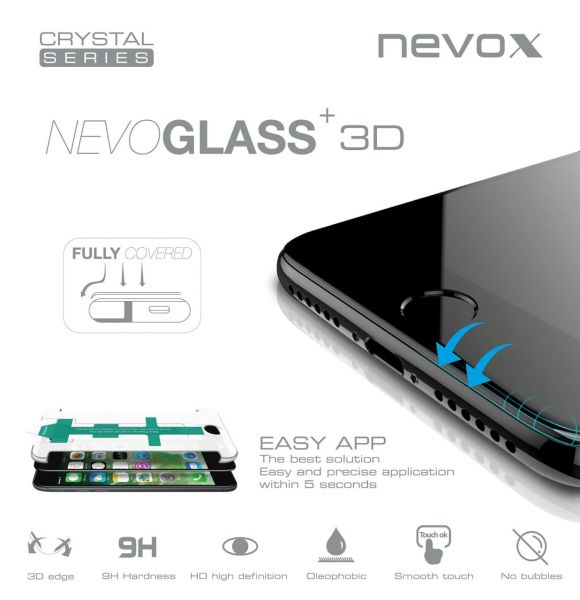 Nevox 1460 Nevoglass 3D iPhone 7 curved mit EasyApp schwarz