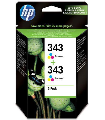 HP 343 Original Cyan, Magenta, Gelb Mehrfachverpackung 2 Stück(e)
