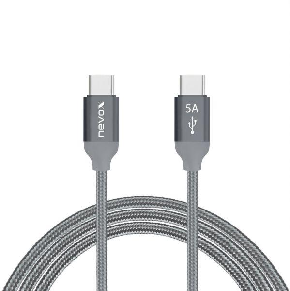 Nevox 1653 USB Type C zu Type C USB 2.0 1m - silbergrau 20V/5A (100W)