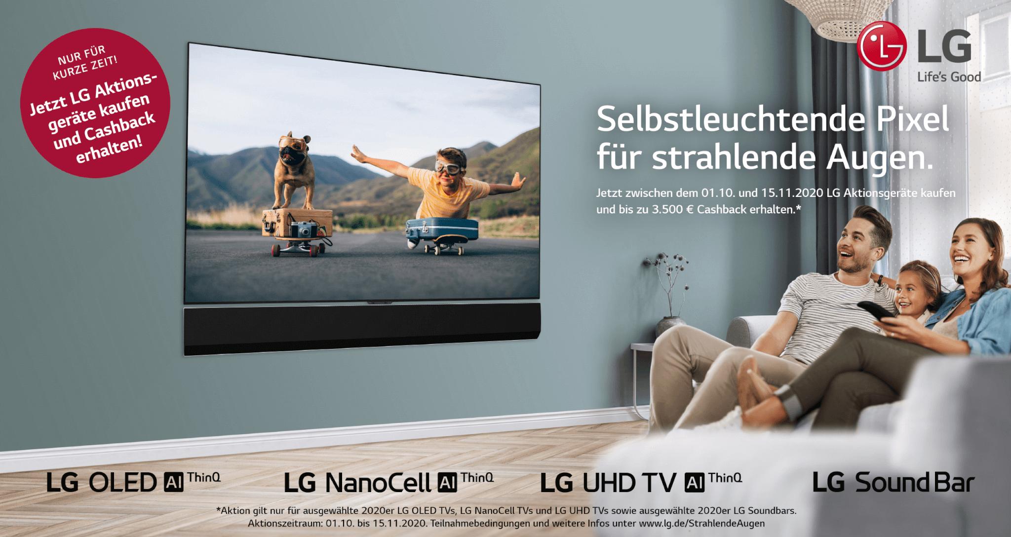 LG Cashback Aktion 2020 - OLED, Nano-TV und Soundbars